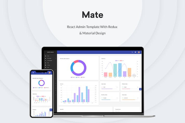 Thumbnail for Mate - React Admin Template With Redux & Material