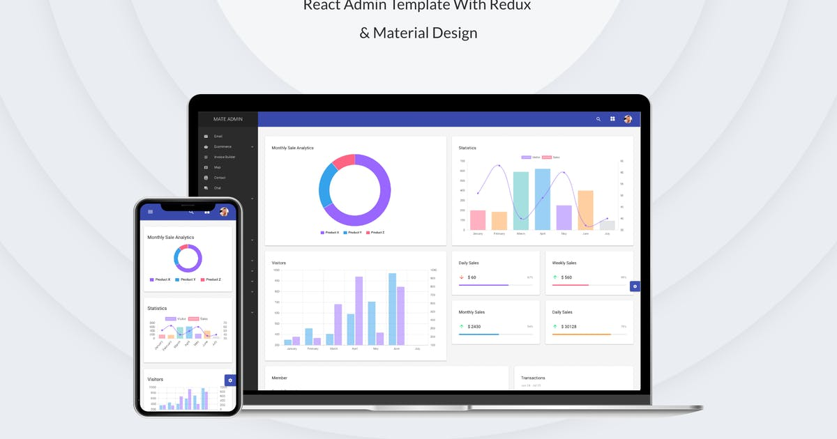 Download Mate - React Admin Template With Redux & Material by redqteam