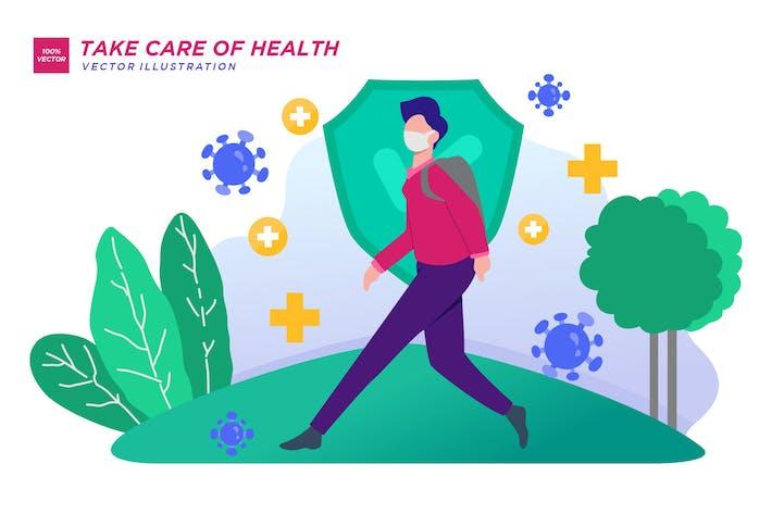 Thumbnail for Позаботьтесь о здоровье Плоская иллюстрация