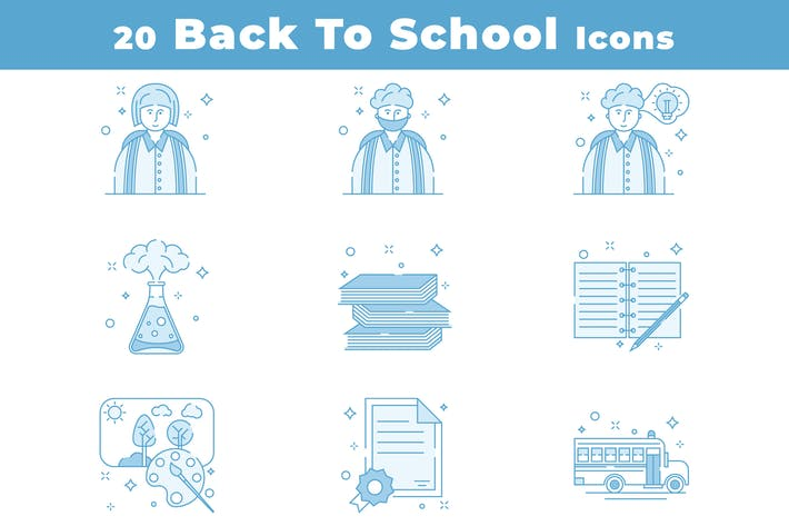 Thumbnail for 20 Colorful Back to School Icons