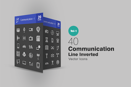 40 Communication Line Inverted Icons