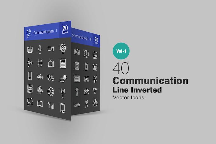 Thumbnail for 40 Íconos invertidos de la línea de comunicación