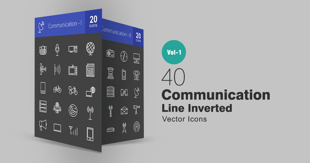 Download 40 Communication Line Inverted Icons by IconBunny