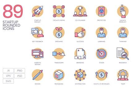 Abgerundete flache Icons starten