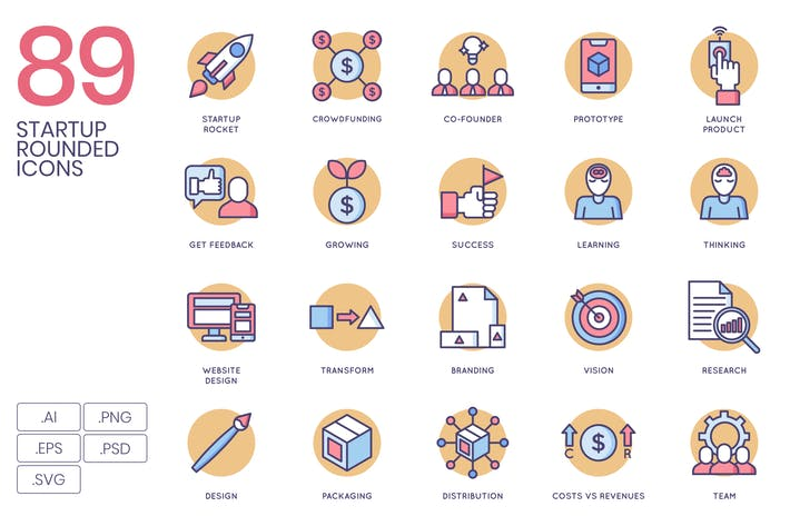 Thumbnail for Startup Rounded Flat Icons