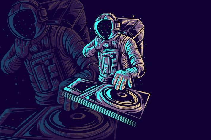 Astronaut Disc Jockey Vector Illustration