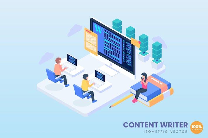 Isometrisches Content Writer-Konzept