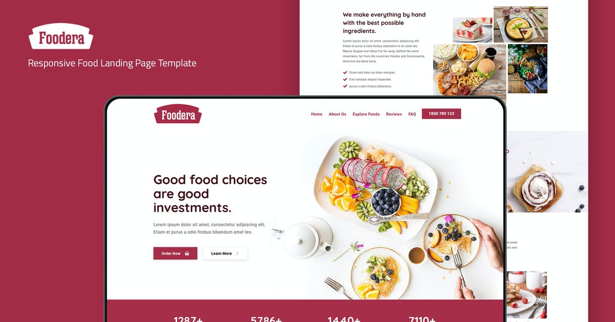 Download Foodera — Responsive Food Landing Page Template by thememor