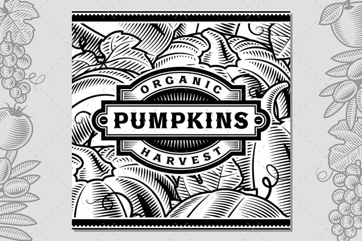 Thumbnail for Retro Pumpkin Harvest Label Black And White