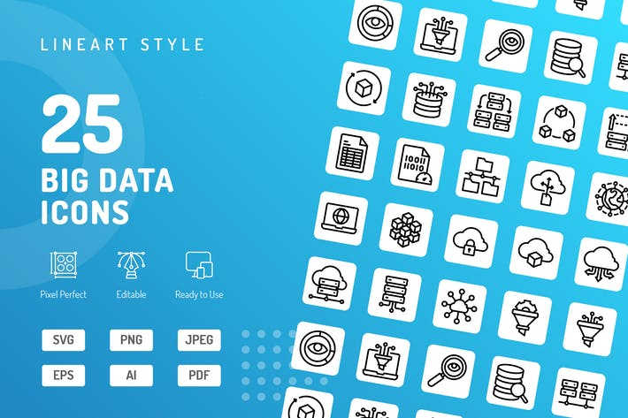Thumbnail for Big Data Line Icons