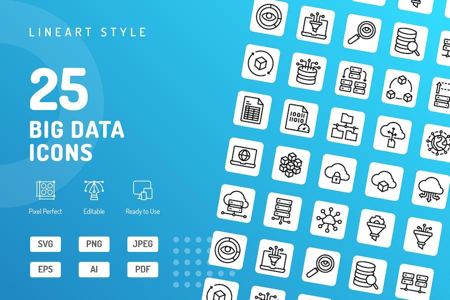 Big Data Line Icons