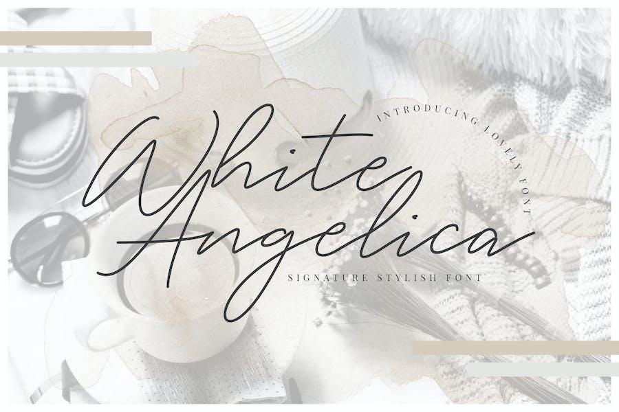 White Angelica Signature Wedding Font