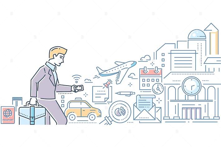 Voyage d'affaires - illustration de style de conception de ligne