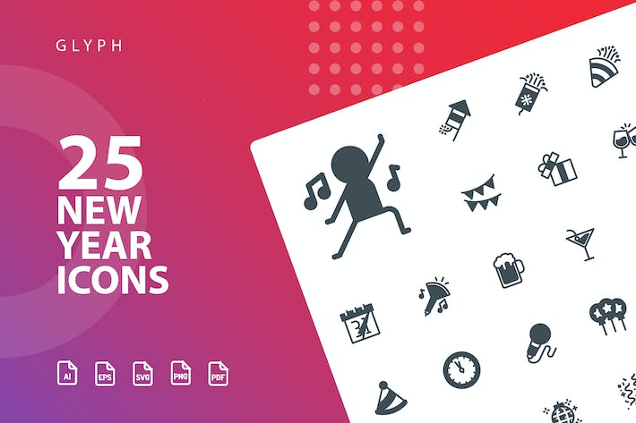 Thumbnail for New Year Glyph  Icons