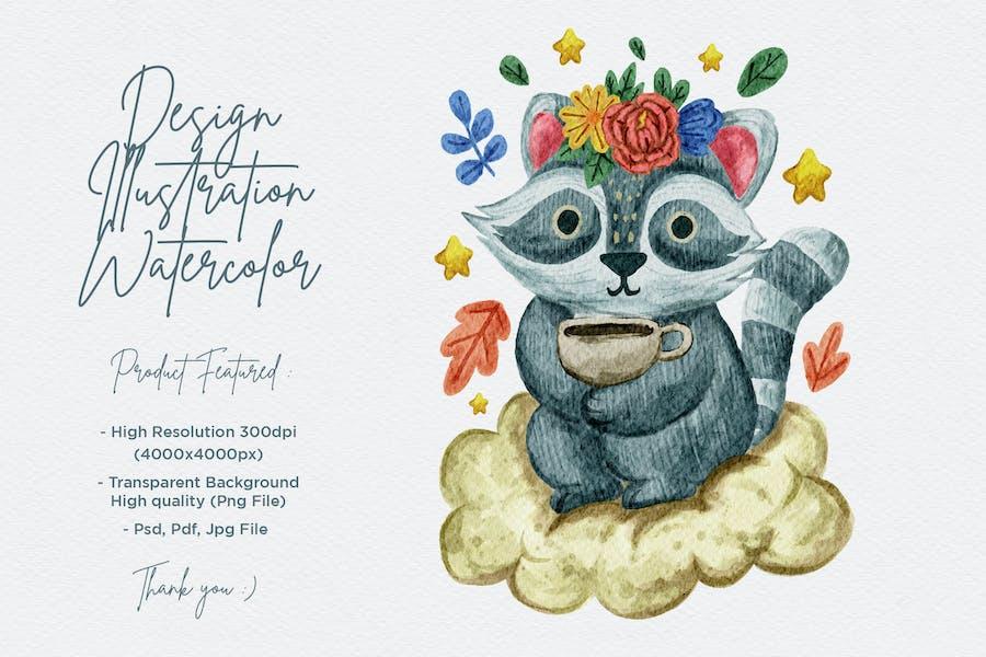 niedliche Waschbär-Illustration mit Aquarell-Design