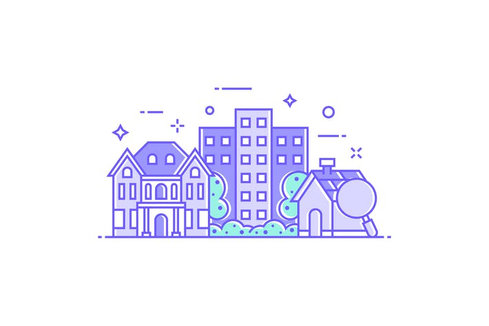Thumbnail for Residential Buildings and Houses Illustration