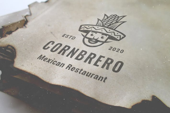 Thumbnail for Corn Mexican Sombrero Hat Hipster Vintage Logo