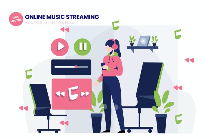 Thumbnail for Online Music Streaming Flat Vector Illustration