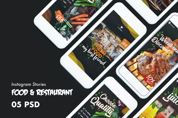 Thumbnail for Food & Restaurants Instagram Stories PSD Template