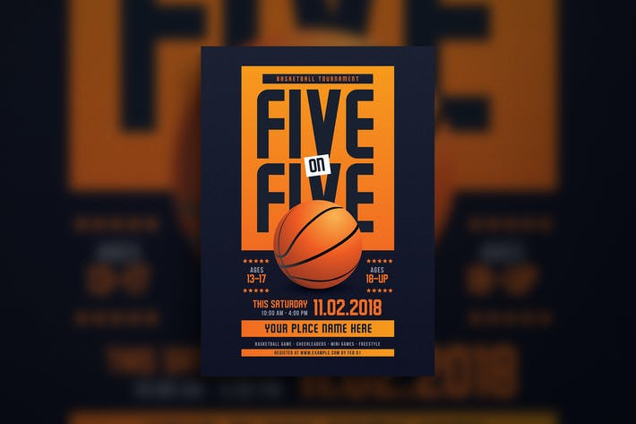 Thumbnail for 5 On 5 Basketball Tournament Flyer