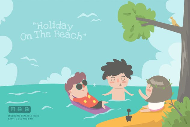 Holiday on the Beach - Ilustration Template