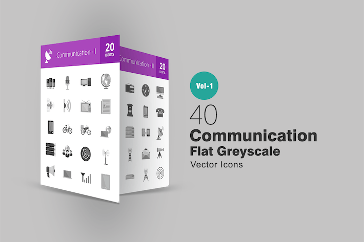 Thumbnail for 40 Communication Greyscale Icons