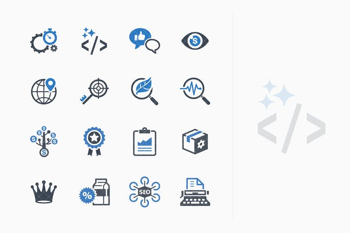 Thumbnail for SEO & Internet Marketing Icons Set 4 - Blue Series