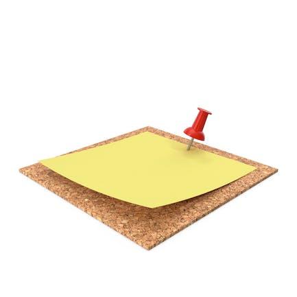Nota adhesiva amarilla fijada a la pared con alfiler rojo