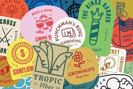 50 Retro Monogram Logo Badges