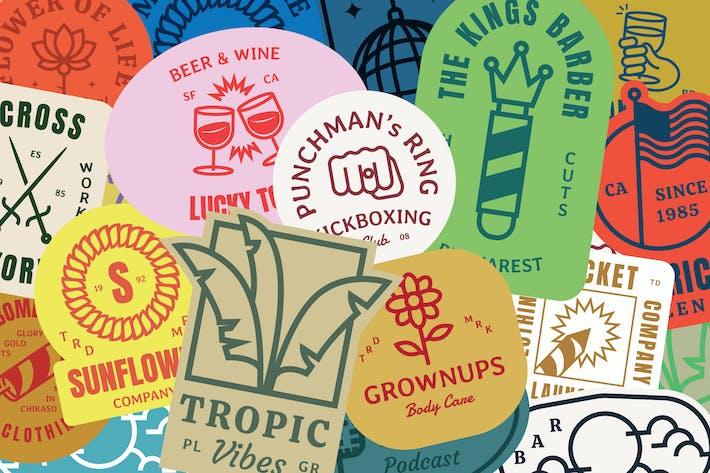 50 значков с Логотип Retro Monogram