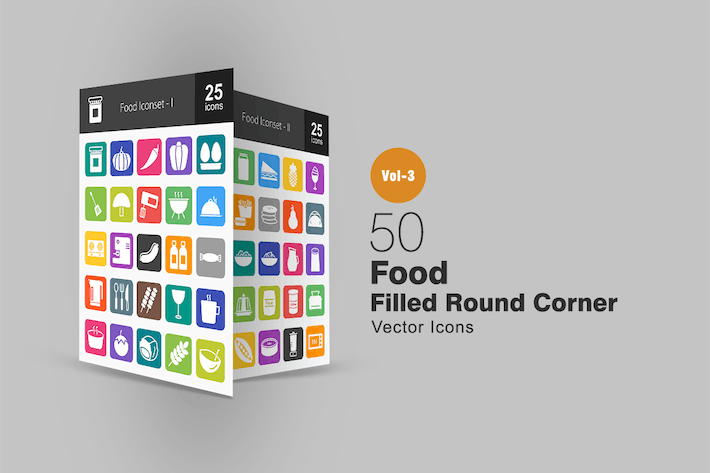 Cover Image For 50 Food Flat Round Corner Icons