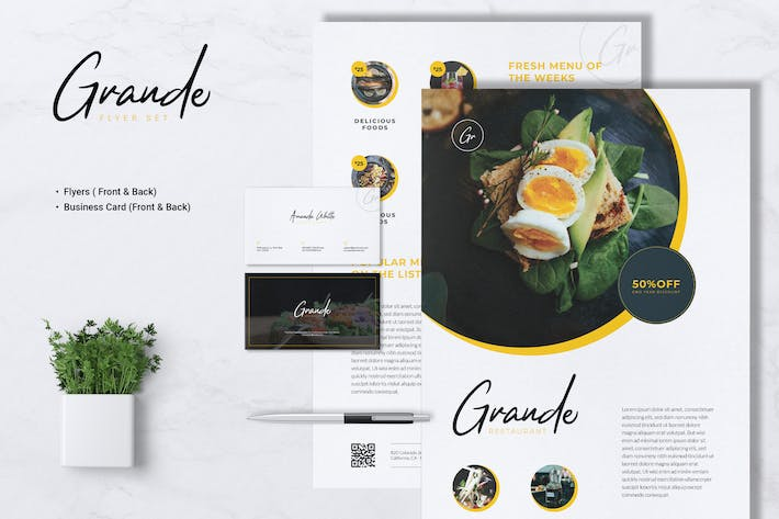 Thumbnail for GRANDE Restaurant Flyer & Business Card