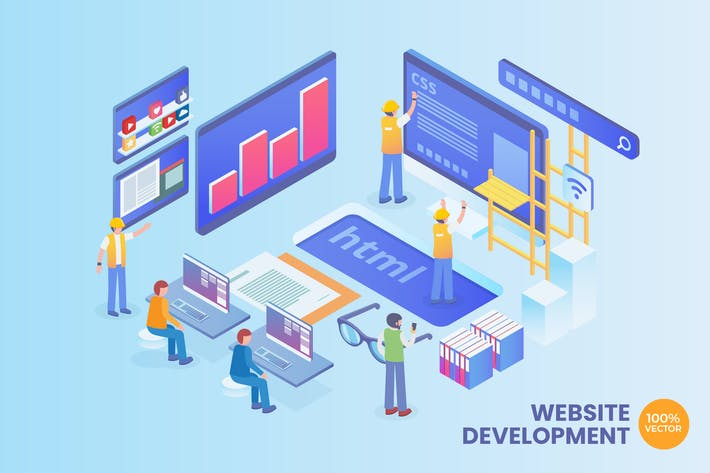 Thumbnail for Isometric Web Development Vector Concept