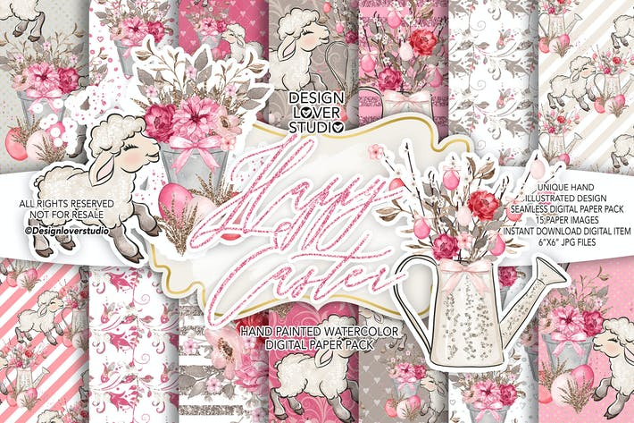 Thumbnail for Happy Easter Lamb digital paper pack