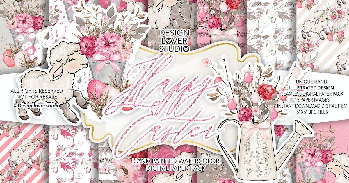 Download Happy Easter Lamb digital paper pack by designloverstudio