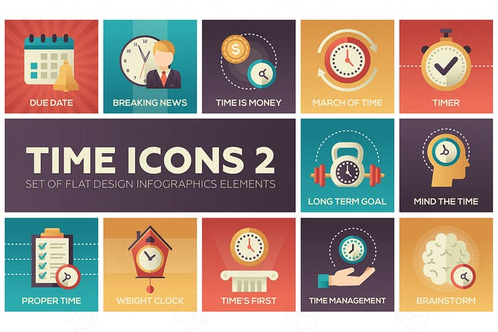 Thumbnail for Time icons - set of flat design style elements