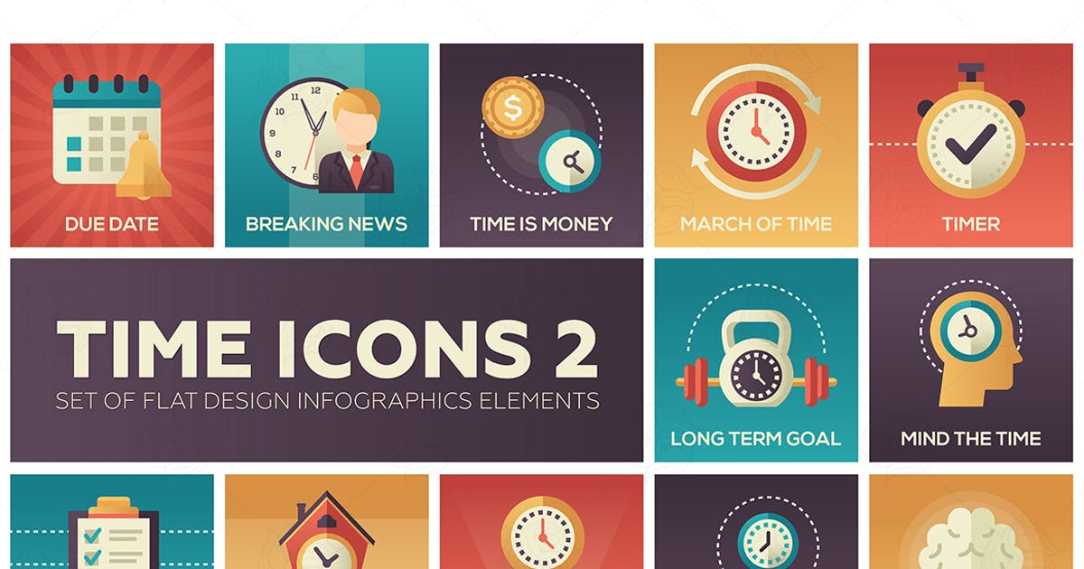Download Time icons - set of flat design style elements by BoykoPictures