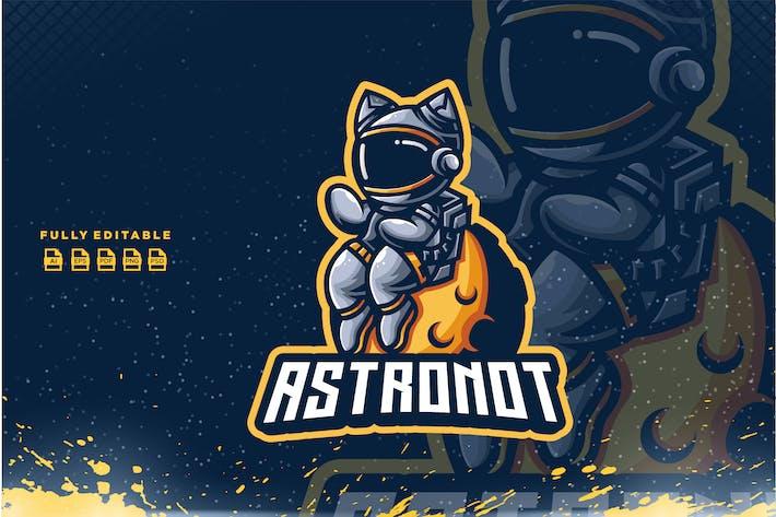 Cat Astronaout Planet Logo template