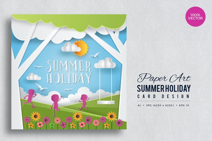 Thumbnail for Paper Art Summer Holiday Vector Card Vol.3