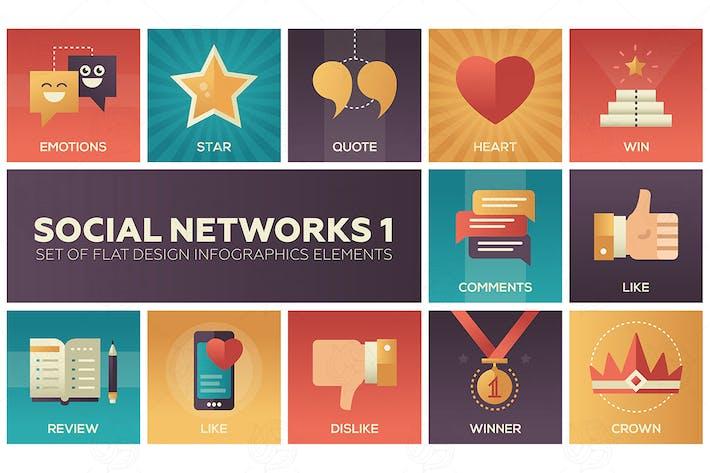 Thumbnail for Réseaux sociaux - ensemble d'Infographies de design plat
