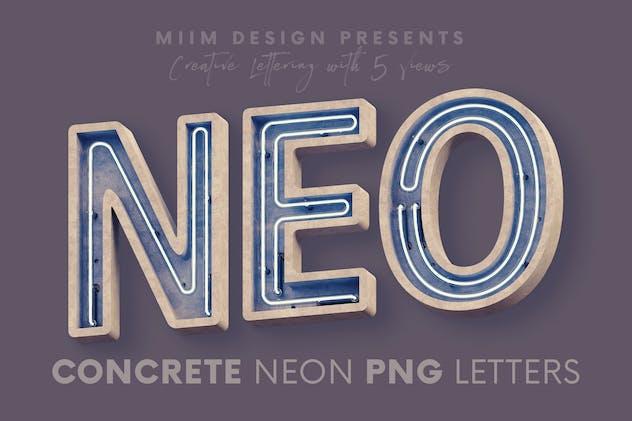 Concrete Neon - 3D Lettering
