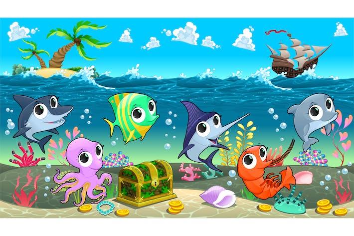 Thumbnail for Meerestiere im Meer mit Galeone