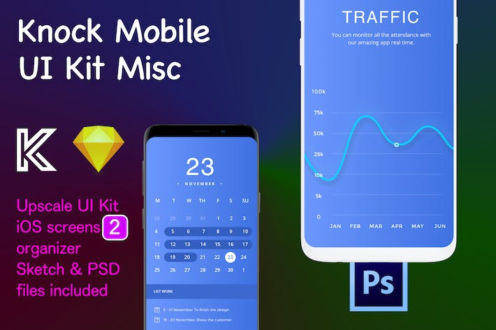 Thumbnail for Knock Mobile UI Kit eCommerce - Traffic, Calendar