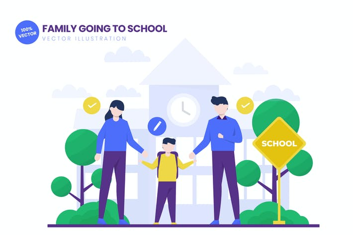 Thumbnail for Family Going To School Flat Vector Illustration