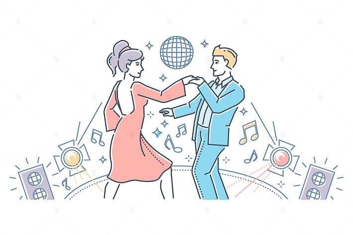 Thumbnail for Partner dance - line design style illustration