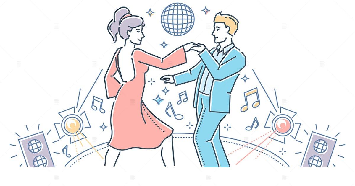 Download Partner dance - line design style illustration by BoykoPictures