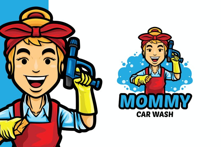 Mommy Car Wash Logo Mascot Template