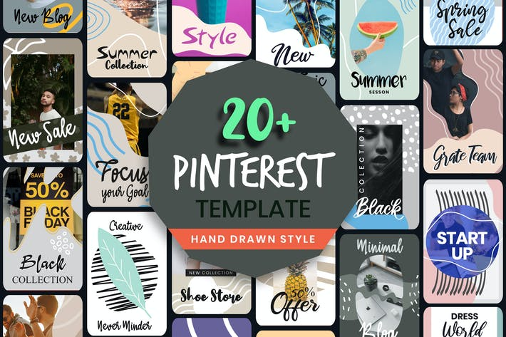 Hand Drawn Style Pinterest Post Template