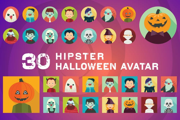 Thumbnail for Hipster Halloween Avatar Icons