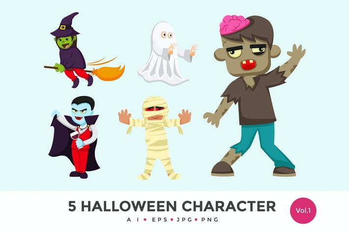 Thumbnail for 5 Cute Halloween Monster Vector Character Set 1